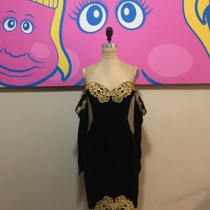 Jessica McClintock Black Velvet Dress 1980s